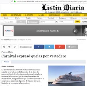 Carnival expreso quejas por vertedero